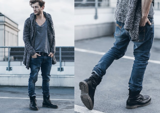 With gray loose t shirt, loose jeans and mid calf lace up boots