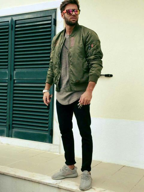 Picture Of With Gray T Shirt Black Pants And Olive Green Bomber Jacket