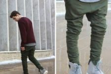 With gray t-shirt, marsala sweater and olive green pants