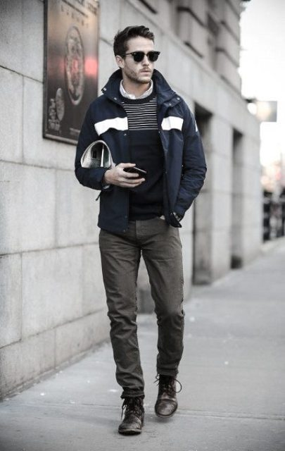 With jacket, gray trousers and lace up boots
