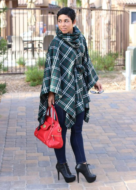 With jeans, black lace up boots and red leather bag