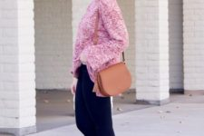 With navy blue leggings, brown bag and printed flat shoes
