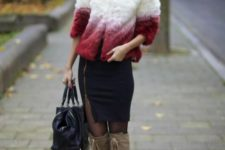 With ombre fur jacket, black shirt, black tote and lace up boots