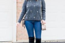 With pom pom hat, skinny jeans, black suede over the knee boots and beige bag