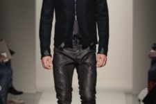 With shirt, tie, black jacket and suede boots