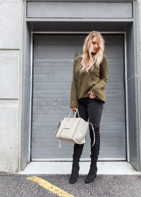 With skinny pants, white tote and black boots