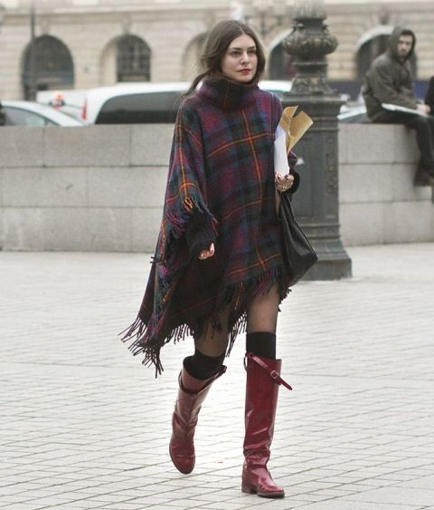 With skirt, marsala patent leather high boots and black tote
