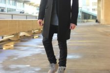 With straight pants, black coat and shirt