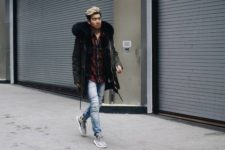With watercolor shirt, parka coat and light blue jeans