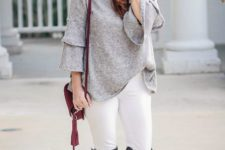 With white pants, gray suede boots and marsala bag
