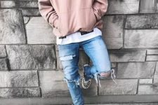With white t-shirt, distressed jeans and checked shoes
