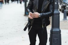 make an impression with a total black look with a turtleneck, skinnies, a leather jacket and boots