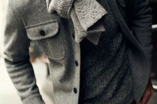 navy jeans, a grey sweater, a grey cable knit scarf and a grey short coat for a casual and comfy outfit