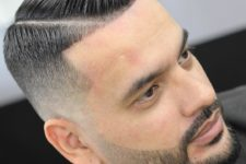 02 a hard part plus a line up is a bold and edgy idea to rock with a beard or without any