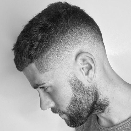 a high skin fade, a crew cut and a beard is a hot idea to rock and looks very modern