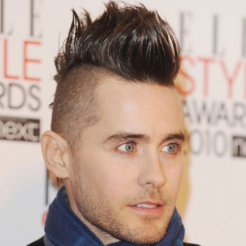 a taper fade mohawk like here, by Jared Leto, requires styling and looks bold