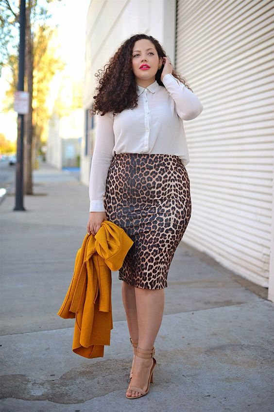 a white shirt, a leopard pencil skirt, nude shoes and a sunny yellow blazer for a bright touch