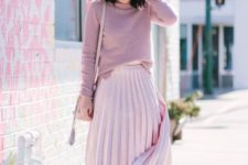 02 go for a simple look done in soft pinks, a pleated skirt, a sweater and shoes to pull off the holiday theme