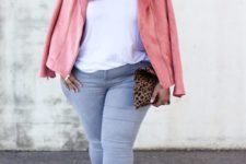 curvy girl's outfit in a pink leather jacket