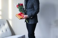 03 a black turtleneck, black pants and shoes and a grey windowpane print blazer for a formal date