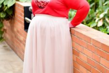 03 a long sleeve top with a sequin heart, a blush midi and nude shoes