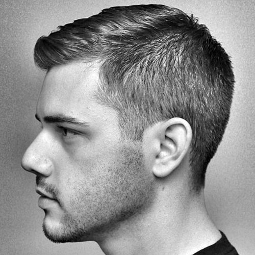 a parted crew cut and taper fade doesn't show too much skin while being stylish