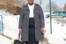 03 a simple outfit with a white shirt, a navy knee skirt, a striped navy and white coat, red shoes and a black bag