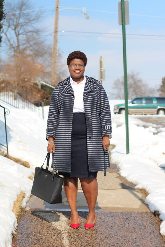 a simple outfit with a white shirt, a navy knee skirt, a striped navy and white coat, red shoes and a black bag