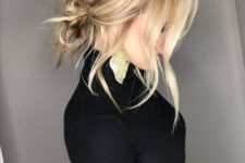 03 a super messy low bun with wavy bangs and a bump can be done on medium length hair