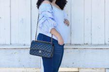 03 blue skinnies, a powder blue off the shoulder top, kitten heels and a black bag