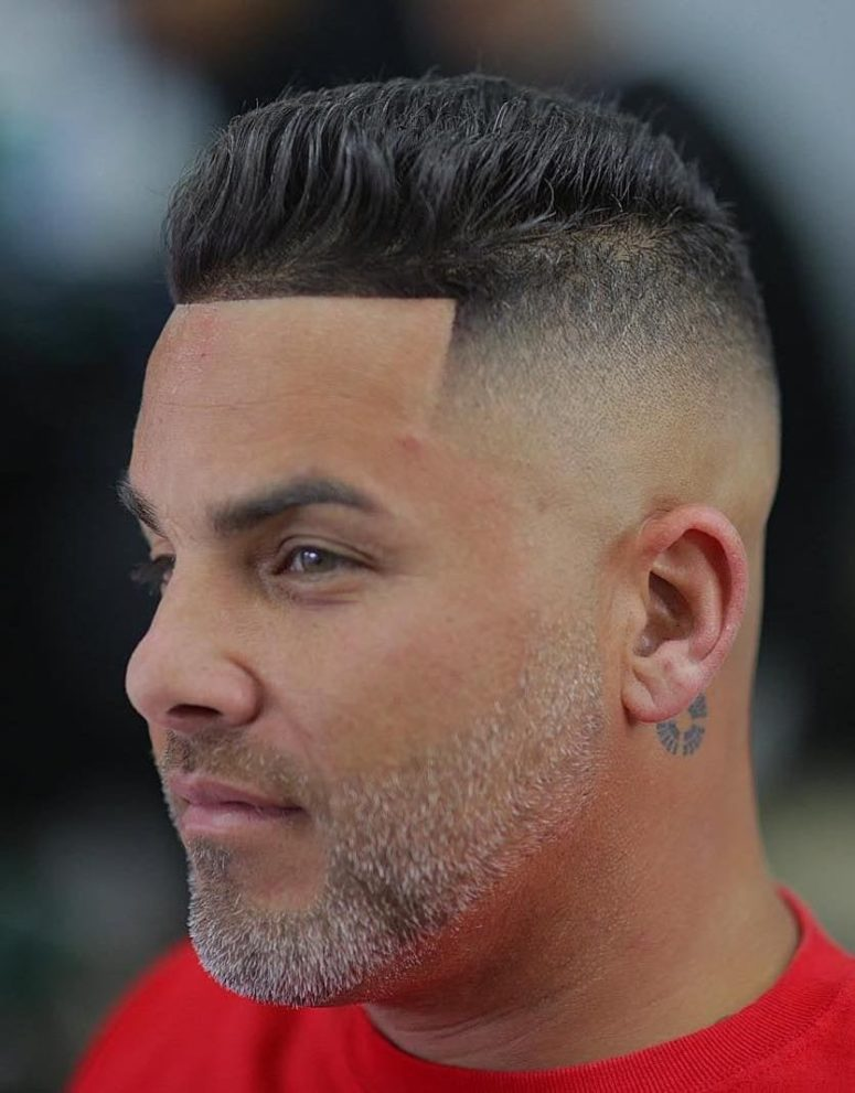such a brush up skin fade is a cool idea, especially combined with a beard