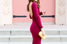 04 a berry-colored long sleeve dress with a cutout back, nude shoes and a metallic clutch for a wow look