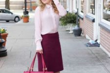 04 a blush shirt, a purple over the knee skirt, blush shoes and a pink bag for a bold outfit