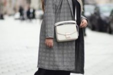05 a black pantsuit, a white shirt, black and white sneakers and a grey plaid coat for a casual work look