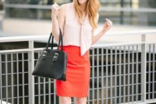 05 a blush top, a red over the knee skirt, leopard shoes and a black bag for a stylish color block look