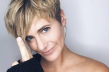 05 a chic and edgy layered pixie haircut with blonde balayage is very refreshing and young-looking