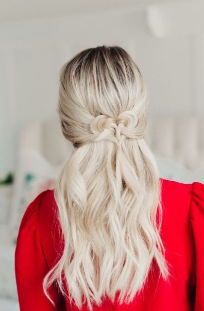 a cute half updo with a twsited heart and some wavy locks down will impress