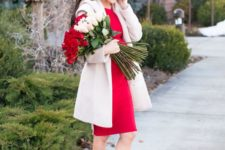 05 a little red knee dress, a creamy coat, blush shoes for a chic Valentine's Day look