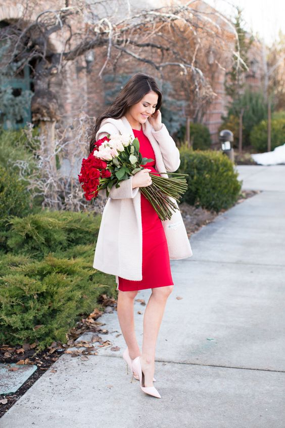 a little red knee dress, a creamy coat, blush shoes for a chic Valentine's Day look