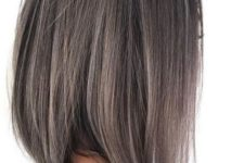 05 a long bob hairstyle in black with ashy brown balayage here and there