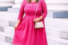 05 a romantic pink lace midi dress with long sleeves, a blush purse and nude heels