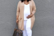 05 a white top and skinnies, a tan long cardigan, brown strappy shoes and a tote