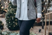 06 a grey plaid blazer, navy skinnies, a creamy blouse with a bow and cognac boots