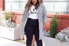 06 black fringed jeans, white booties, a white printed t-shirt, a grey plaid trench for a casual look