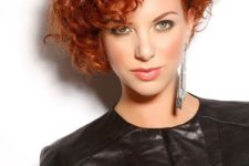 06 natural copper curly hair cut short looks very dimensional and very bold catching an eye