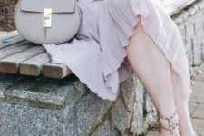 07 a blush long sleeve top, a lilac pleated midi skirt, blush spiked shoes and a grey bag