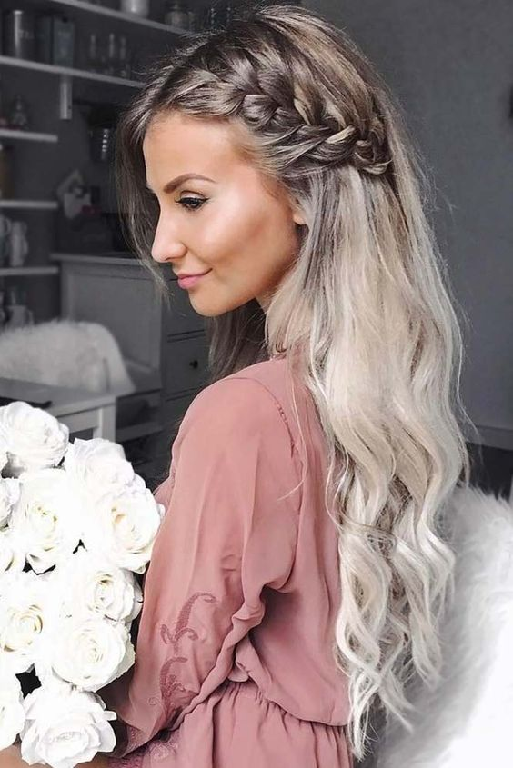 a chic half updo with a side braid and long waves is amazing for girls with long hair