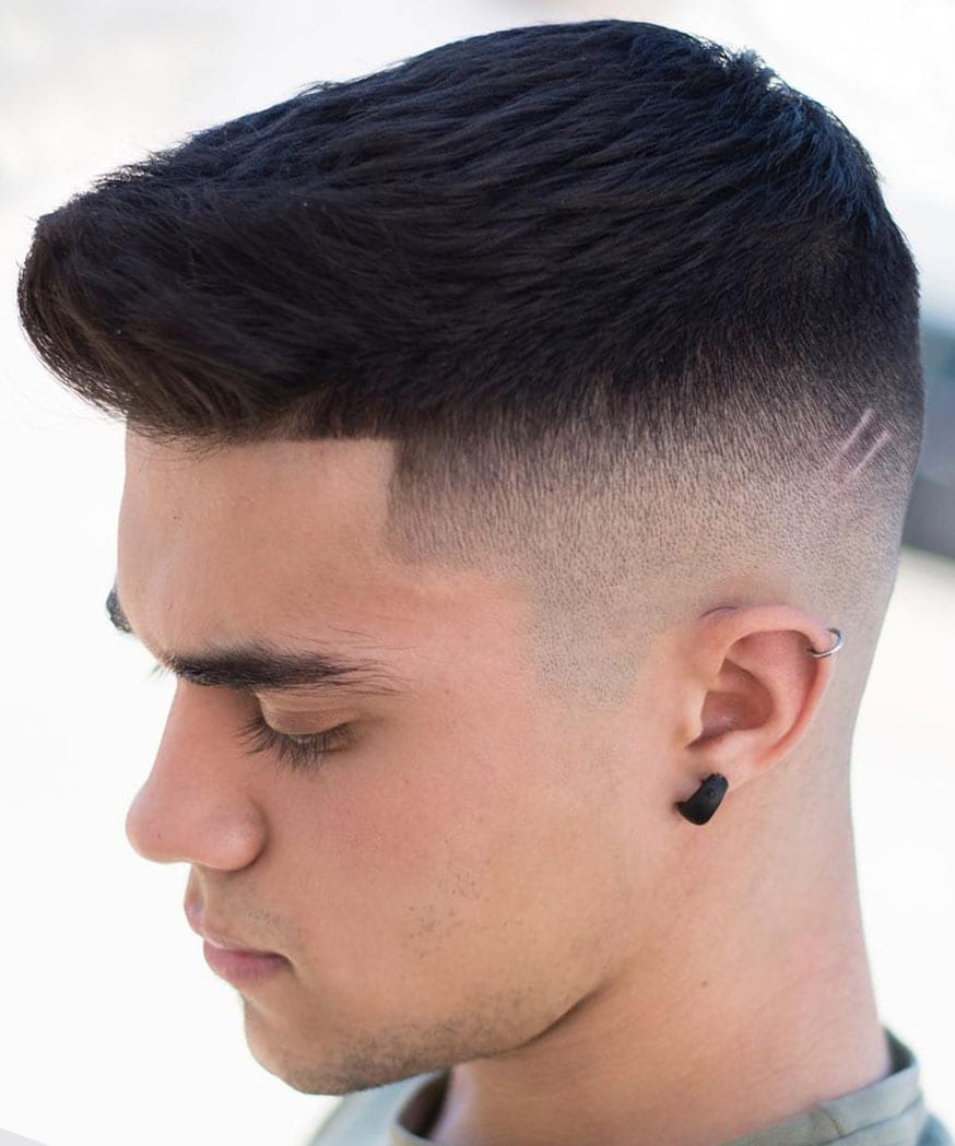 a high fade crew cut with a line up is a chic idea with a cool shape and texture