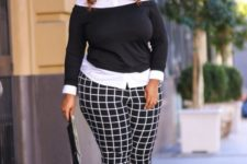 07 a monochromatic outfit with a white shirt, a black off the shoulder sweater, black and white windowpane pants and hot pink shoes