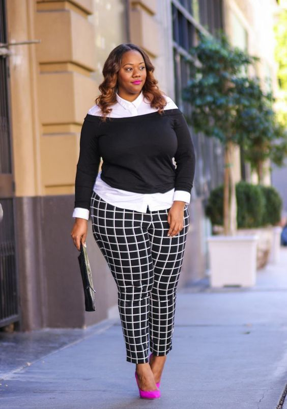a monochromatic outfit with a white shirt, a black off the shoulder sweater, black and white windowpane pants and hot pink shoes